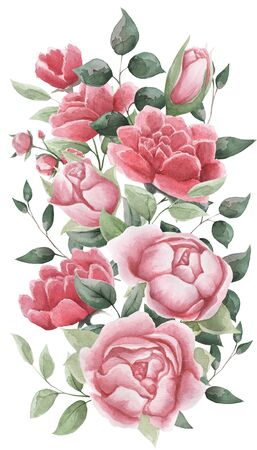Watercolor flowers. Floral illustrations, leaves and branches. Botanical composition for a wedding or greeting card. branch of flowers - abstraction of roses, peonies, leaves Stock Photo