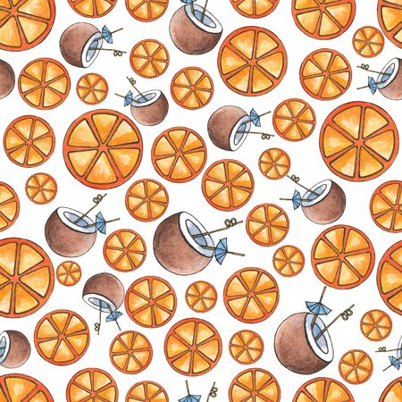 Seamless watercolor background of orange and cocktail slices in coconut. Summer design for the decoration of textiles and items. Round orange slices and coconut cocktail with tubules.