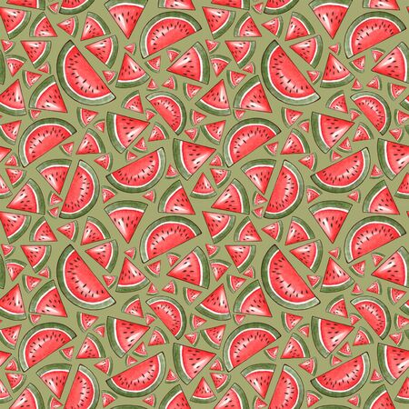 Seamless pattern with watermelons. Pieces of watermelon on a light background. Illustrative painting for decoration, fabric, design of cards and for printing on clothes. Stok Fotoğraf