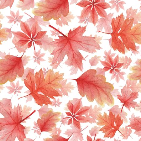 Delicate pattern in watercolor style. Background from autumn oak leaves and maple on a light background for textile, decor and decoration