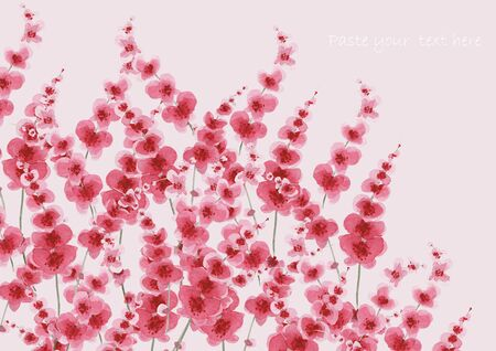 Watercolor background for decoration of invitations, cards, book covers and diaries. Illustration with pink beautiful flowers on a light background. Stock Photo