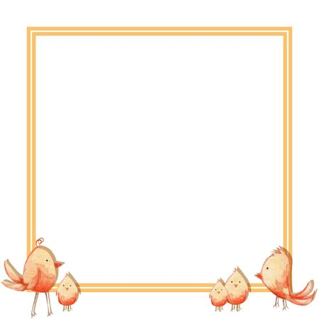 square frame with cute yellow birds - chickens. Watercolor illustration.