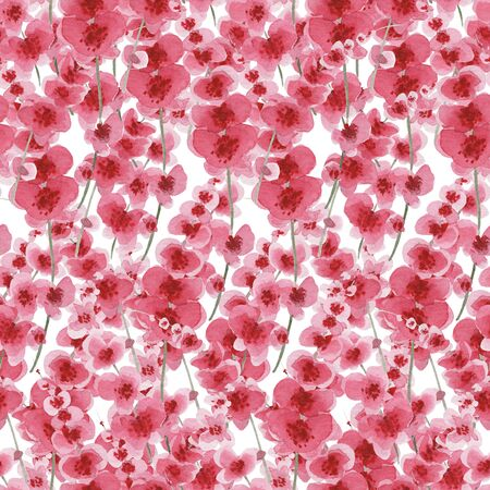 Seamless watercolor background of pink, red flowers. Pattern for decor, fabric, textile, design postcards interior. Stock Photo
