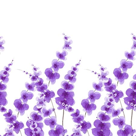 Seamless watercolor background of feolet flowers. Background for decor, fabric, textile, design postcards interior. Stock Photo