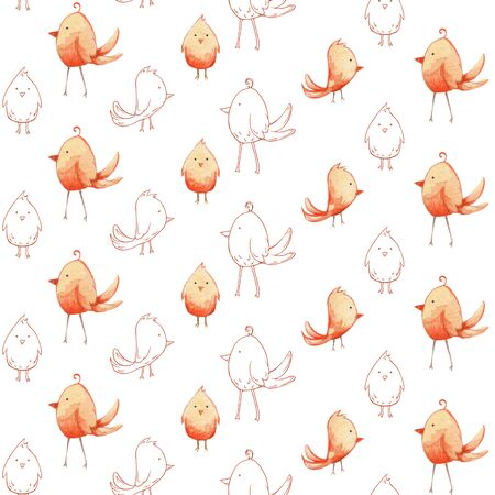 Delicate pattern in watercolor style. Background of yellow birds - chickens on a light background for textile, decor and decoration