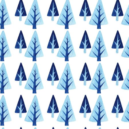 Seamless pattern with winter trees. Watercolor background with blue Christmas trees on a light background. Stok Fotoğraf