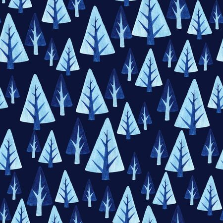 Seamless pattern with winter trees. Watercolor background with blue Christmas trees on a dark background. Texture for the design of New Year cards, fabrics, paper