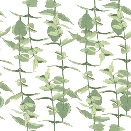 Seamless pattern with green leaves on a white background. Hand-drawn background. Floral pattern for wallpaper or fabric. A branch of tender leaves Botanical tiles.