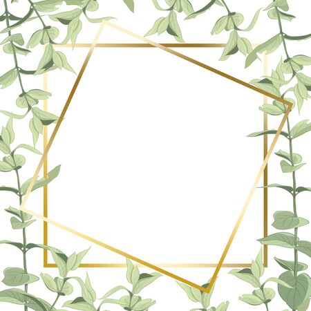 A delicate frame of leaves and branches drawn in digital graphics. Greeting card with illustration of leaves. Green leaves located on a white background.