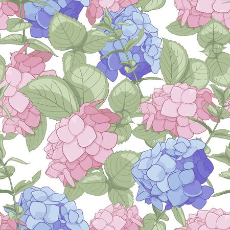 Seamless pattern of flowers of hartensia, twigs and leaves for your design. Texture for the design of cards, textiles and decor.