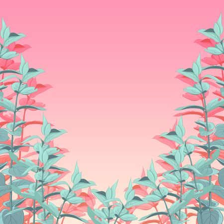 Background or frame with green leaves on a pink gradient. Background for design and decoration.