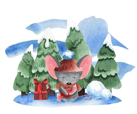 Watercolor illustration of a mouse on the background of fir trees in the snow. Illustration for New Year decoration and greeting card. Winter picture.