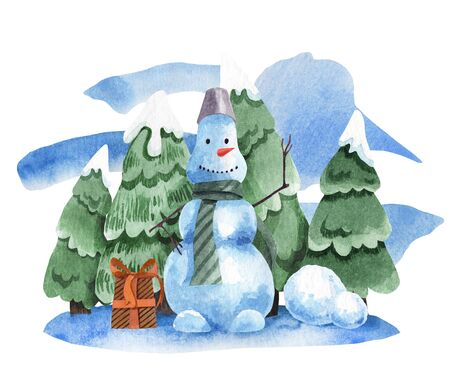 Watercolor illustration of a snowman on the background of fir trees in the snow. Illustration for New Year decoration and greeting card. Winter picture.