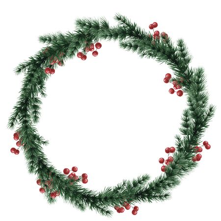 Christmas wreath of fir branches. Round frame for the design of Christmas invitations. Watercolor illustration