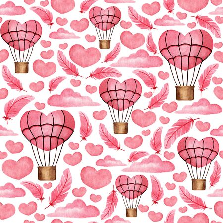 Seamless pattern with pink hearts, clouds, balloons. Watercolor background for design, decor, scrapbook, print, fabric, textile, greeting card, invitation, etc. Фото со стока