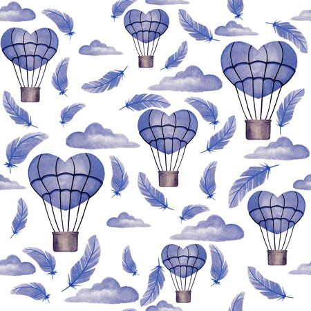 Seamless pattern with blue clouds, balloons. Watercolor background for design, decor, scrapbook, print, fabric, textile, greeting card, invitation, etc.