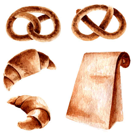 Watercolor illustration of croissant, pretzel and bag with coffee in beige colors. Cute autumn set for decoration, decor, handicrafts, printing, prints, stickers, etc.