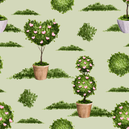 A seamless pattern with green plants and pink hearts in a pot on a green background. Watercolor texture for the design of gifts, clothes, fabrics, utensils, books, wrappers, etc. Imagens