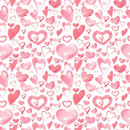 Vector seamless pattern with hearts. Background for Valentine's Day. Suitable for design, decor, postcards, books, invitations, paper, fabric, textiles etc Çizim