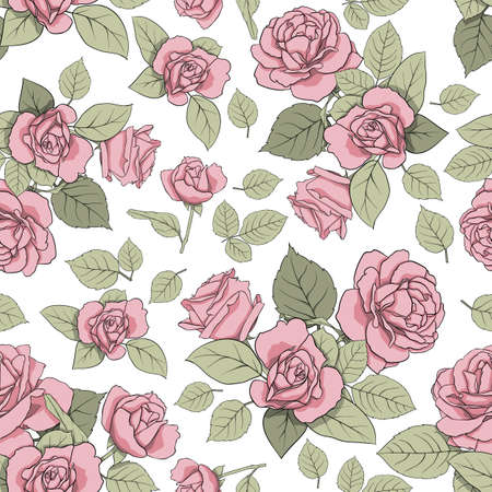 Vector pattern with roses on a light background. Seamless texture for decoration, decoration, textiles, cards, nails, prints, scrapbooking paper, etc. Vector illustration.