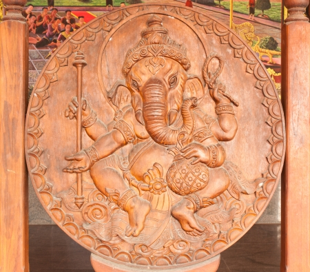 hindu god: Carved wooden ,Ganesha in Thailand Stock Photo