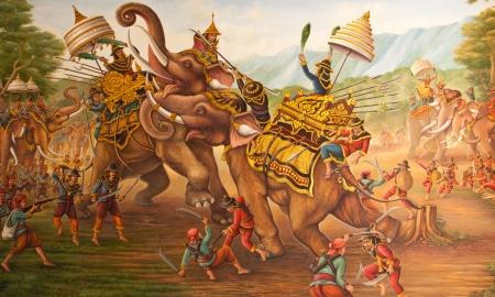벽화 Luthheete 전쟁, 코끼리 결투 전쟁 다시 코끼리의 전투 스톡 콘텐츠 - 23396729