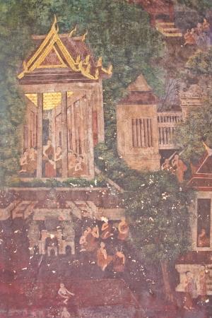 wat bowon: Temple mural  Wat Bowon Niwet Wihan Ratchaworawihan  in thailand