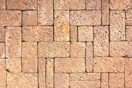 Laterite stone brick wall photo