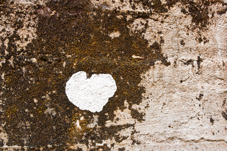 White heart floating on the surface of old plaster walls occur naturally Stock Photo - 24882187