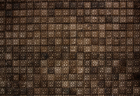 ���wall tiles���: The wall tiles of the old brown tones. Stock Photo