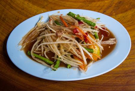 somtum: Somtum, papaya salad delicious food in thailand. Stock Photo