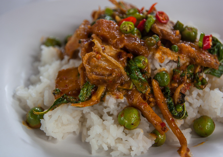 Crispy pork with Red Curry. photo