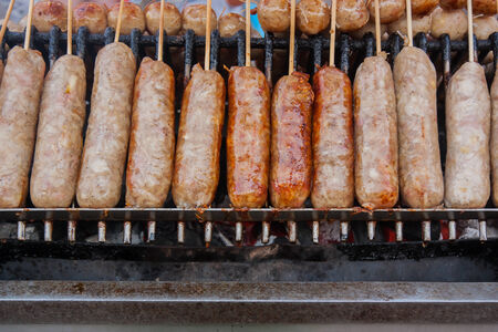 isaan: Isaan sausage,Thailand market. Stock Photo