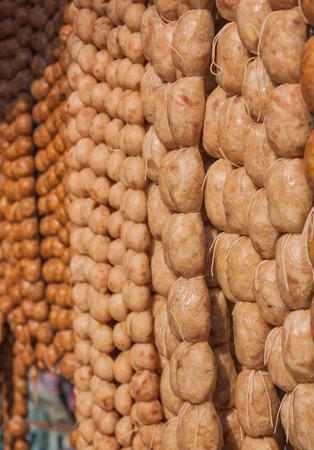 isaan: Raw isaan sausage,Thailand market.