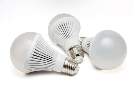 LED light bulbs on a white background.