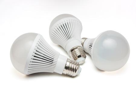 light emitting: LED light bulbs on a white background.