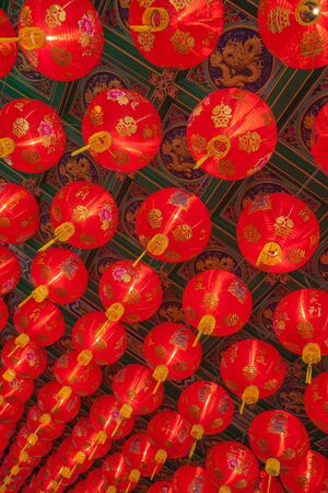 temple thailand: Chinese lanterns decorate the temple Thailand.