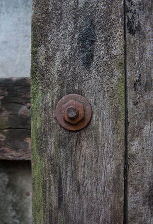rusty: Rusty Bolt on Wood.