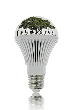 electric bulb: LED lights save energy and be environmentally friendly, with clipping path.