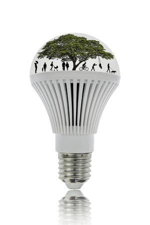 LED-verlichting energie te besparen en zijn milieuvriendelijk, met clipping pad. Stockfoto