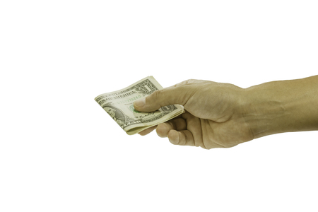 disparity: Pictures of the men hand took the money sent, with clipping path.