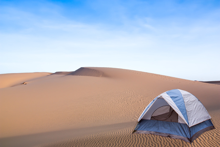 Camping in the desert, Desert landscape with a tent for tourism. Standard-Bild