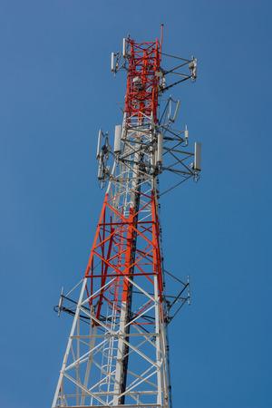 telephone pole: Telephone pole with clear blue sky.