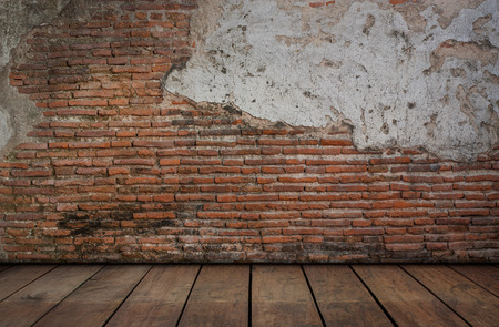 wooden floors: Red brick with cement walls and wooden floors. Stock Photo