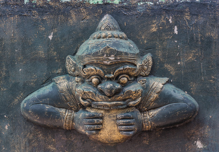 beliefs: Rahu Monday with their religious beliefs, Sculpture carved decoration of the temple for Thailand. Stock Photo