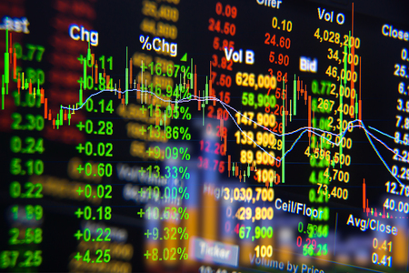 financial symbols: Stock exchange graph background.