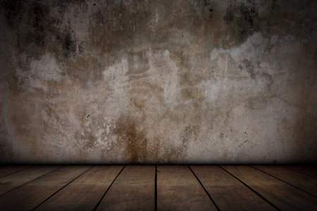 wooden floors: Cement walls and old wooden floors, Abstarct background. Stock Photo