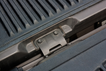lid: Hinged lid of the pickup, shooting angle in obliquely. Stock Photo