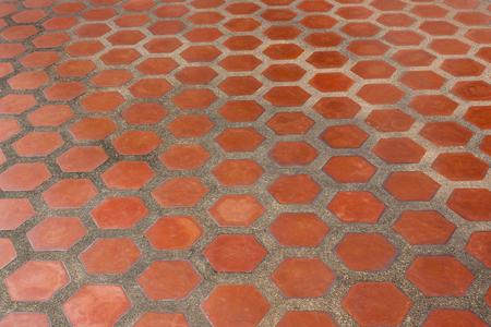 tile flooring: Ceramic tile flooring orange, shooting angle in obliquely. Stock Photo
