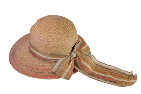 나비 넥타이, 흰색 배경에 고립으로 장식하는 갈색 모자와 짠.